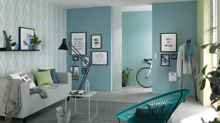 Wohnzimmer Wandgestaltung mit Vliestapeten