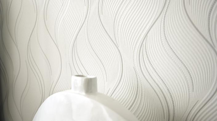 Wall design bedroom, white non-woven wallpaper with wave pattern