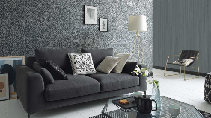 Wall design living room, non-woven wallpaper in graphite with detailed ornament pattern