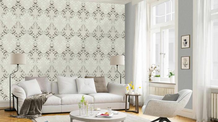 Wohnzimmer mit moderner Barocktapete in Silbergrau