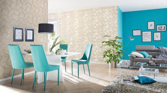 Modernes Wohnzimmer in Weiß und Türkis mit Tapeten aus der Kollektion FILINO