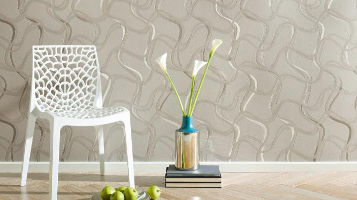 Moderne Vlies-Tapete in Grau und Silber mit grafischen Muster