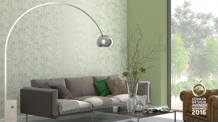 Tapeten mit Bambusmotiv in grün in Wohnraum