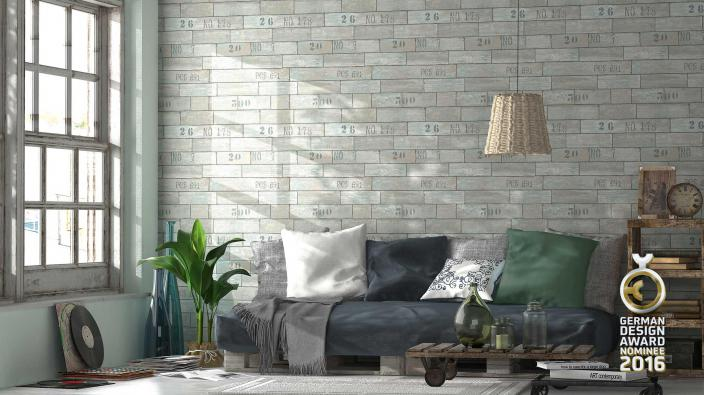 Tapten in jungen Wohnraum mit Holzoptik in Grau-Grün