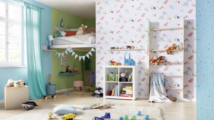 Kinderzimmer mit Tier-Tapete Motiv Bauernhof