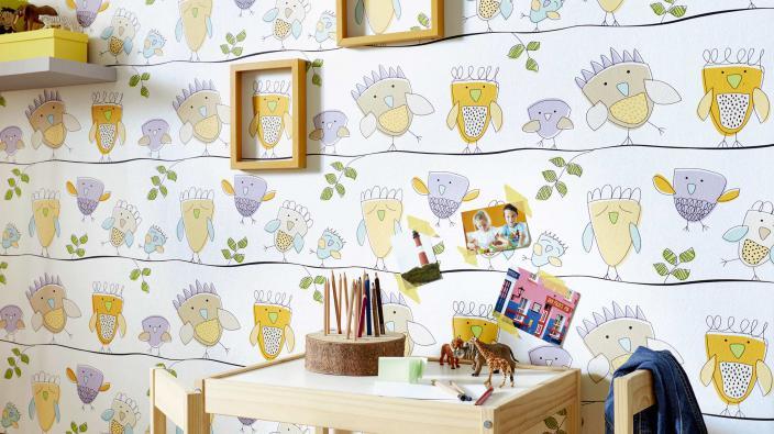 Kinderzimmer Papiertapete mit Eulen-Motiv