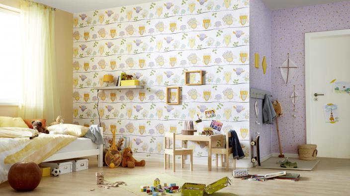 Kinderzimmer Papiertapete mit Motiv Eulen