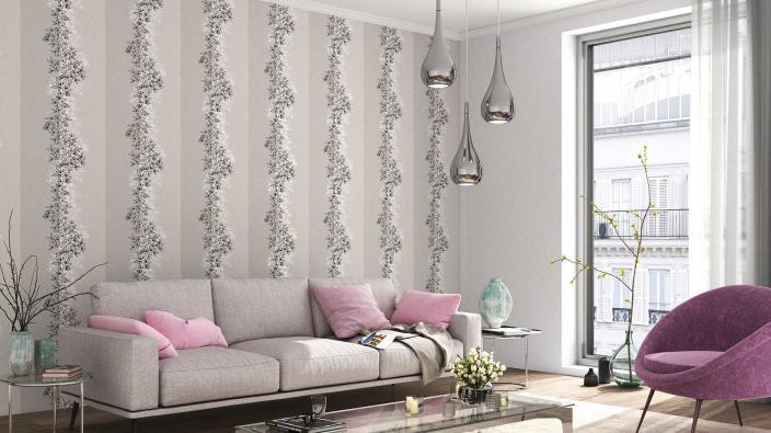 Modernes Wohnzimmer mit Vliestapete Blütenpanel. Moderne Möbel