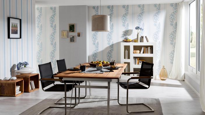 Vliestapeten in Esszimmer, Wandgestaltung in Blau