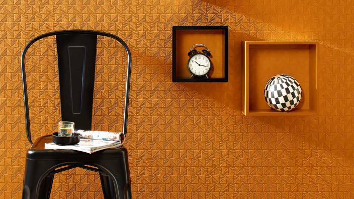 Überstreichbare Vliestapet mit Grafikmuster in Orange
