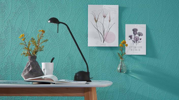 Überstreichbare Vliestapete mint mit Blattmotiv, Schreibtisch