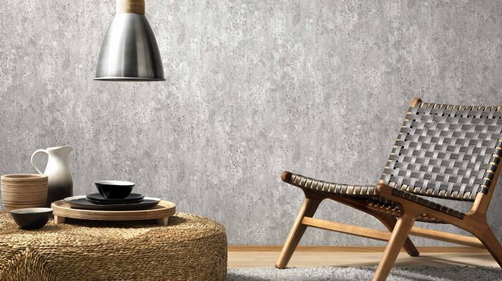 Vliestapete im Beton Look in einem hellen Grau