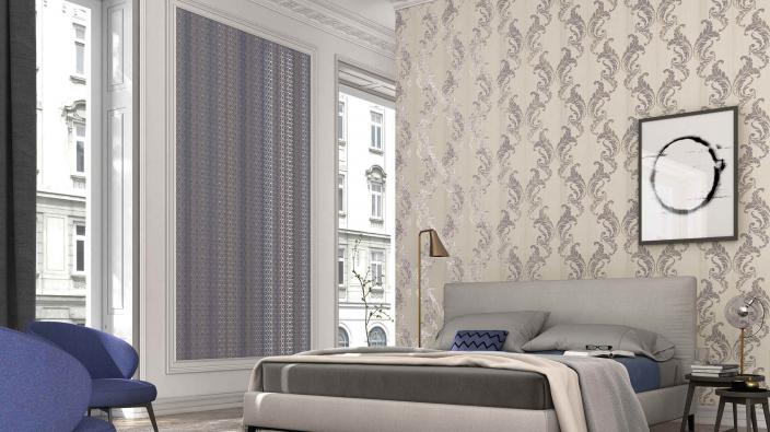 Schlafzimmer Wandgestaltung mit Vliestapete elegantes Ornament in Taupe