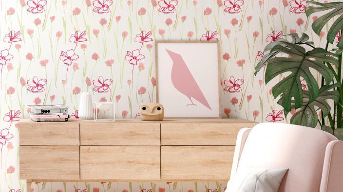 Romantische Blumentapete in Rose in Wohnzimmer