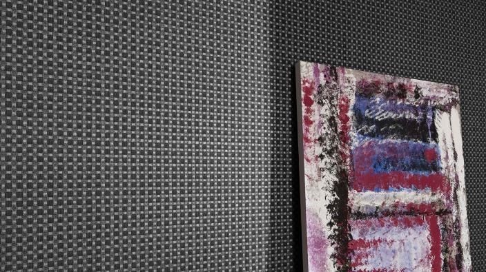 Tapete in schwarz mit kleinem Allover-Tapeten-Muster