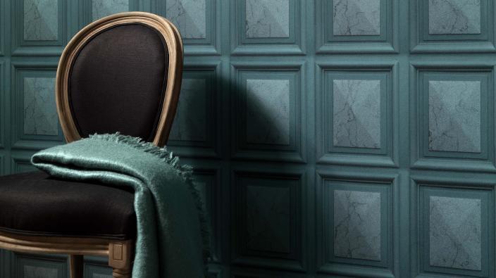 Vliestapete mit Imitations-Muster, edle Marmor-Wandvertäfelungen in Smaragtgrün mit 3D-Effekt