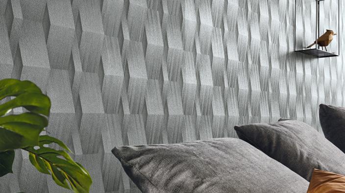 Modernes Wohnzimmer mit  3D Effekt Tapete Schimmer