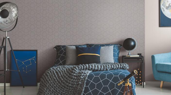 Modernes Schlafzimmer neuer Grafik in erdigen Tönen