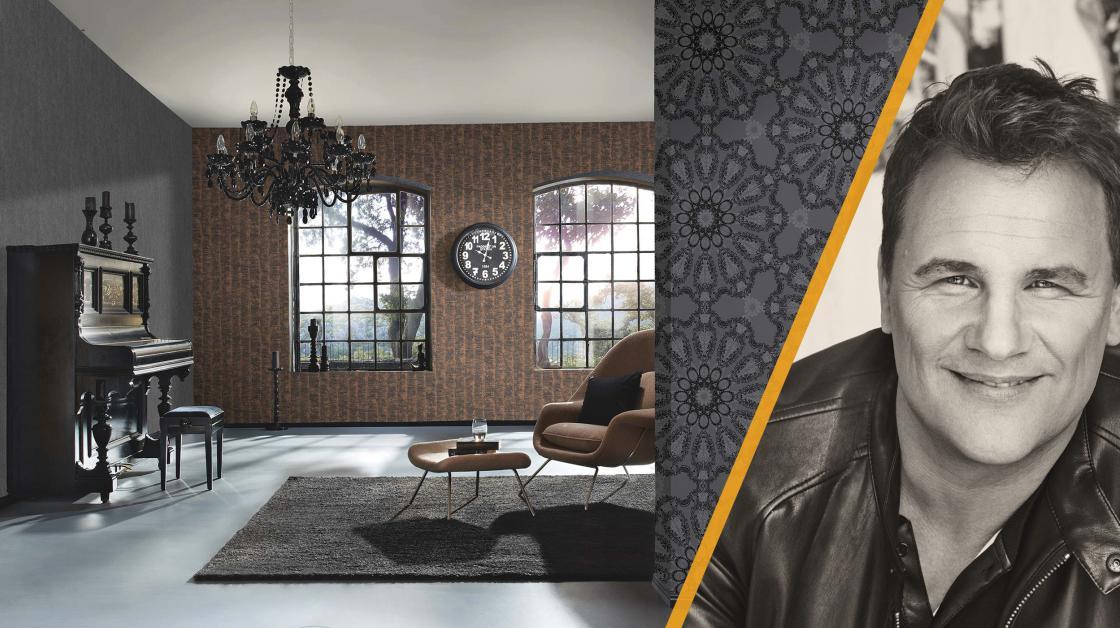 Wohnzimmer mit Vliestapeten aus der Kollektion Deluxe by Guido Maria Kretschmer