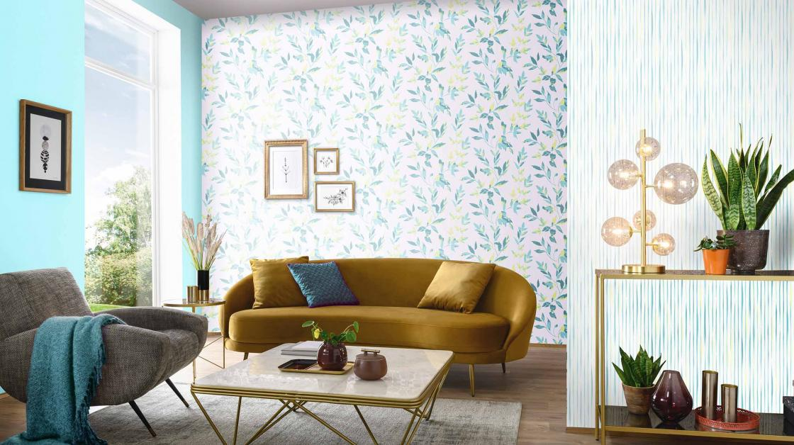 modern livingroom, paste the wall with leaves in peppermint green