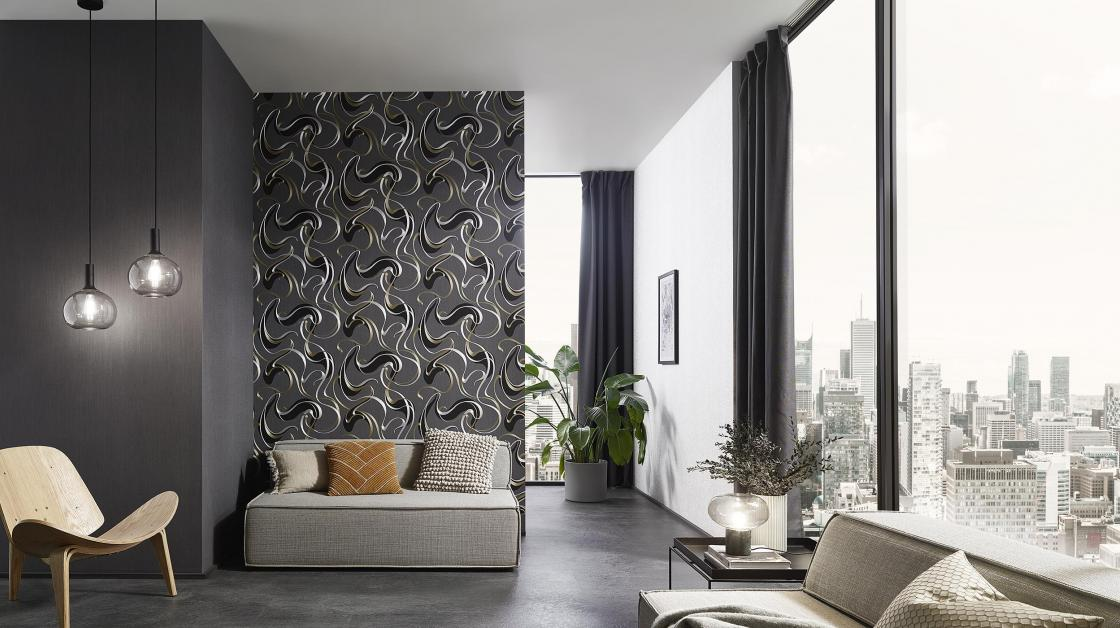 Modernes Wohnzimmer in schwarz-silber, Vliestapete mit mit grafischem Schlingenmuster