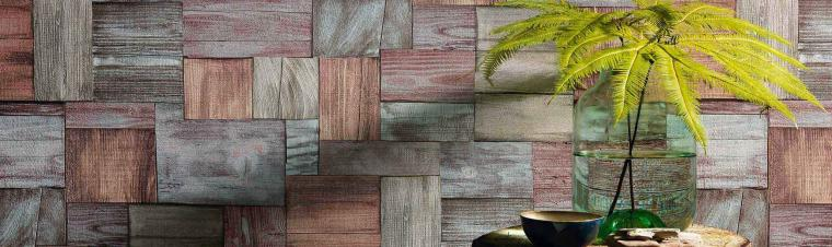 Tapete in moderner Holzoptik rot-grau