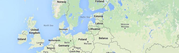 Landkarte Europa in Englisch