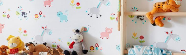 Kinderzimmertapete mit bunten Tieren vom Bauernhof