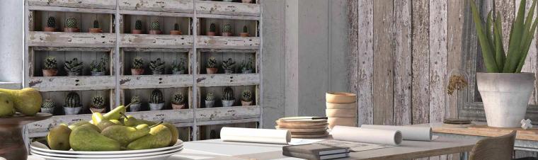 Papiertapete in verwitterten Holzplankenoptik und Papiertapete, die aussieht wie ein altes Holzregal mit Kakteen