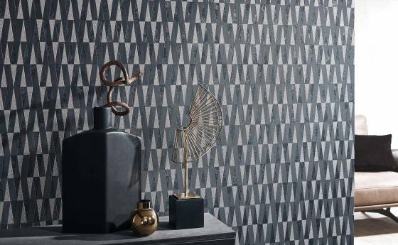 Vliestapete, moderne grafisches Design mit Glimmereffekt in Schwarz und kühlem Gold