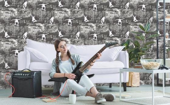 Jungendtapete, Skater, Teenie Mädchen mit Gitarre