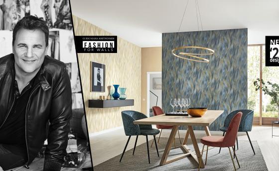 Wohnzimmer mit Luxuriösen Tapeten mit edlen Designs Guido Maria Kretschmer