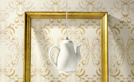 Vliestapete mit modernem Ornament in Gold-Ocker