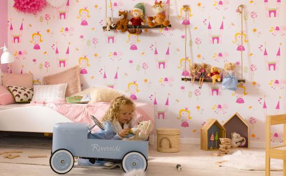 Kinderzimmer Papiertapete Prinzessinnen in Pink