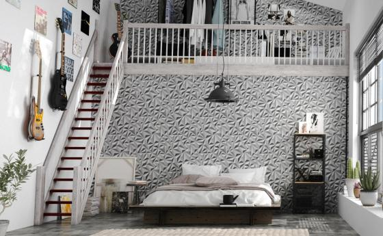 Modernes Loft. Bett. Galerie. Vliestapete mit 3D-Grafik in Grau.