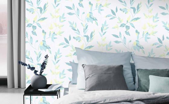 Vliestapete, Schlafzimmer mit natürlichem Blattmotiv in trendigem Mint