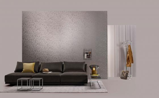 Wandgestaltung in Lounge mit Glasperlen-Tapeten in taupe
