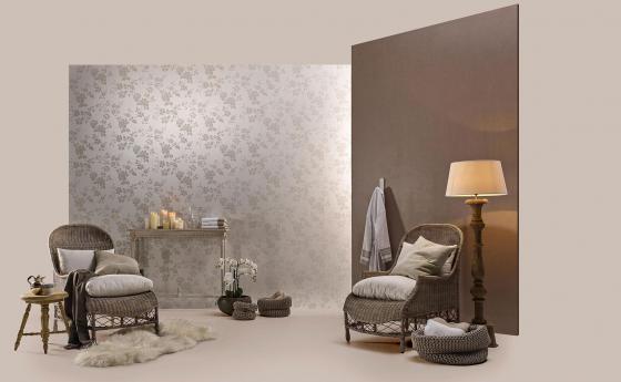 Wandgestaltung mit Vliestapeten mit echten Glasperlen