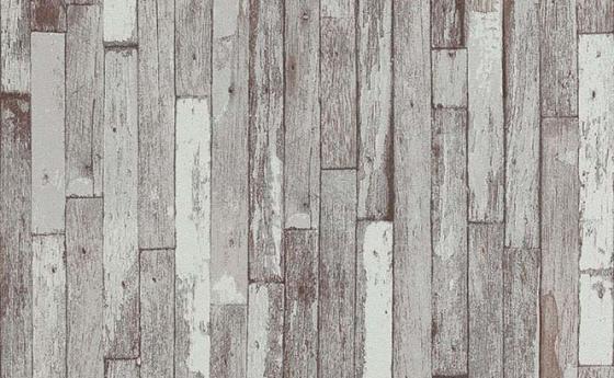Tapete Holzoptik mit patinierten vertikalen Balken