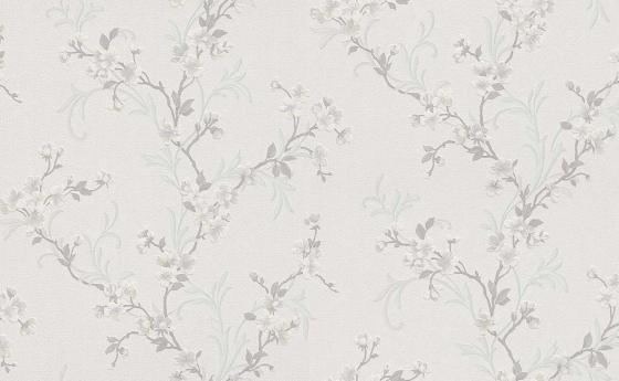 Romantische Blumentapete mit kleinen delikaten Kirschblüten und Knospen