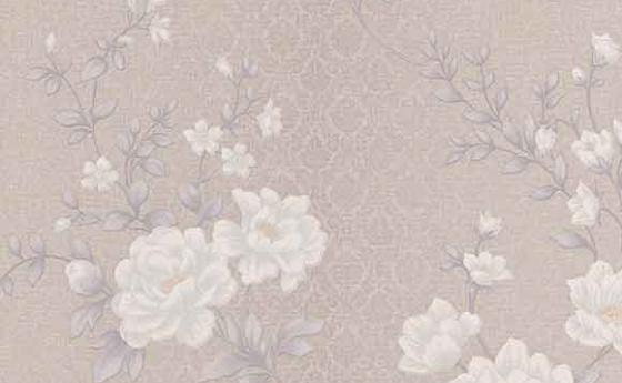 Blumentapete Taupe-Rose