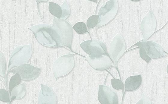 Tapetenmuster mit Blattmotiv in Blau-Grün aus der Kollektion Central Park