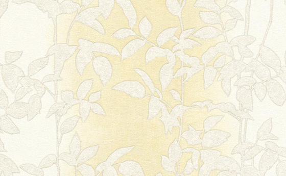 Tapete mit Blattmuster in blassem Sonnengelb