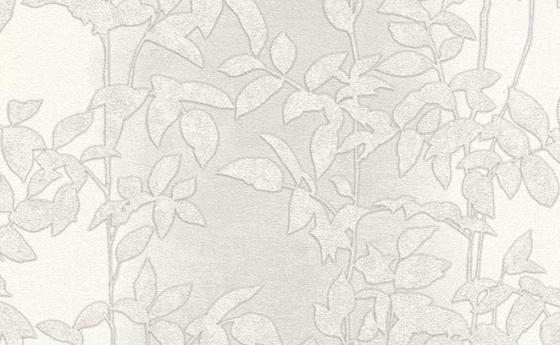 Tapete mit Blattmuster in blassem Grau