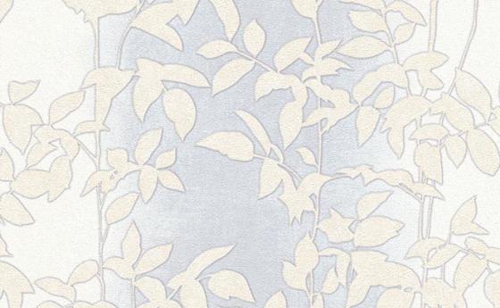 Tapete mit Blattmuster in blassem Blau-Grau