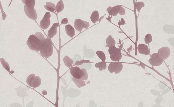 Tapetenmuster mit Blattmotiv in dunklem Rot mit hellem Hintergrund