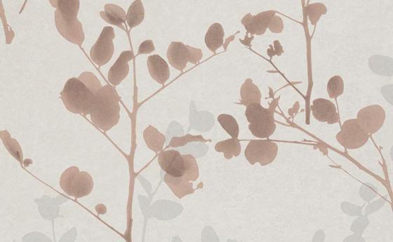 Tapetenmuster mit Blattmotiv in Beige und Grau