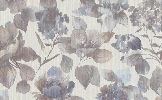 Blumentapete in Blau-Grau
