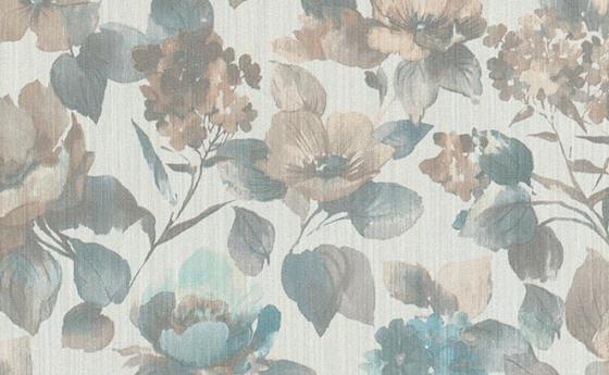 Blumentapete in Mint-Grün