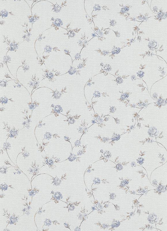 Landhaus Vlies Floral Blumen Tapete  5827-08 Erismann   Blau Beige